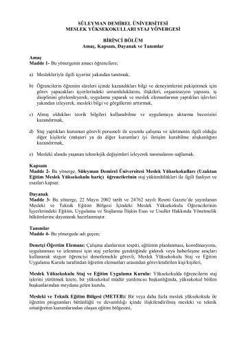 Staj Yönergesi - Süleyman Demirel Üniversitesi