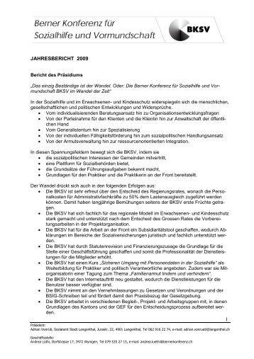 1 JAHRESBERICHT 2009 - Berner Konferenz für Sozialhilfe und ...