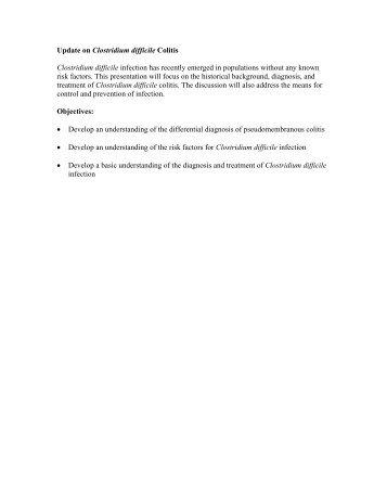 Update on Clostridium difficile Colitis Clostridium difficile infection ...