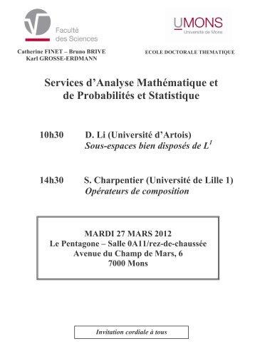 Services d'Analyse Mathématique et de Probabilités et Statistique
