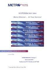 Metro Ethernet Forum SUPERDemo 2004 - Unitest.com