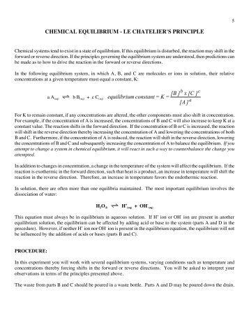 le chatelier s principle lab report We will examine the effect of a catalyst on equilibrium le chatelier's principle le chatelier's lab work report: chemical equilibrium.