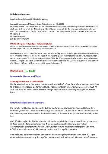 Einreise von Haustieren in die EU - aw2-tierhilfe.de