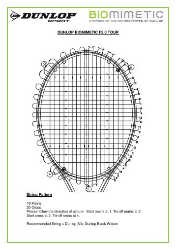 DUNLOP BIOMIMETIC F2.0 TOUR String Pattern