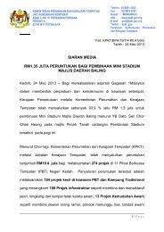 siaran media rm1.35 juta peruntukan bagi pembinaan mini stadium ...
