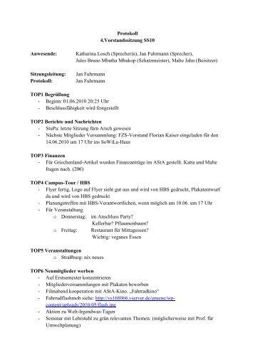 Protokoll 4.Vorstandssitzung SS10 Anwesende ... - Webhoster.de