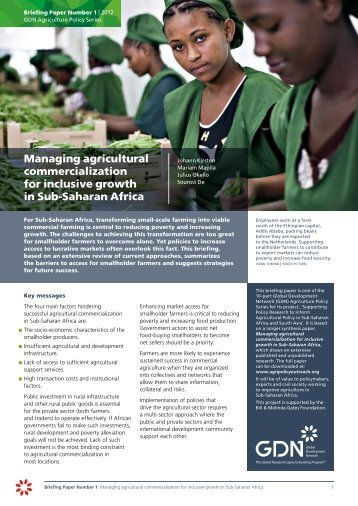Managing agricultural commercialization for inclusive growth in Sub ...