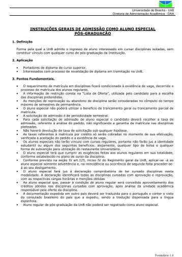 instruções gerais de admissão como aluno especial pós ... - TEL