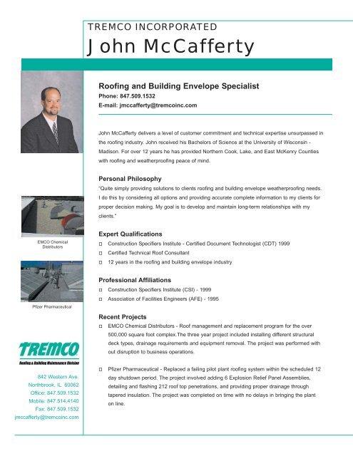 John McCafferty Profile - Tremco Roofing