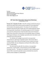 OIF Hosts Next Generation Interconnect Workshop