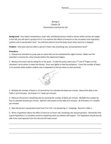 homeostasis exercise lab Homeostasis and exercise lab answerspdf free download here biology lab: homeostasis and exercise - beverly hills high school.