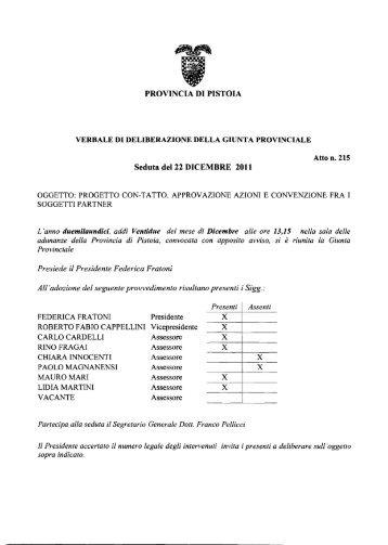 PROVINCIA DI PISTOIA Seduta del 22 DICEMBRE 2011 - Utgpistoia.it
