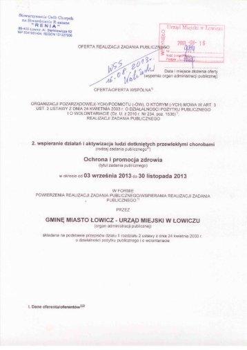 Oferta realizacji zadania publicznego - Łowicz