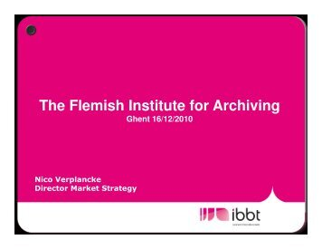 12. The Flemish Institute for Archiving, N ... - bell labs belgium