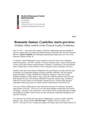 Romantic fantasy Cymbeline starts previews - Stratford Festival