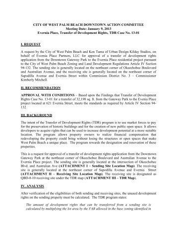TDR Case No. 13-01 - City of West Palm Beach