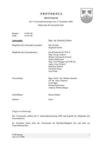 9. Gemeinderatsprotokoll (359 KB) - .PDF - Gemeinde Oetz