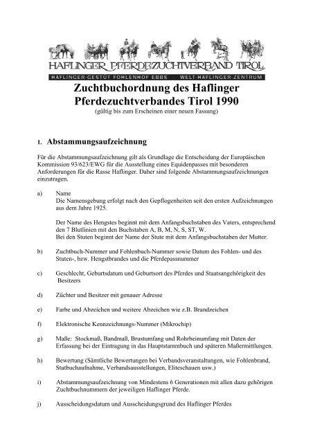 Zuchtbuchordnung des Haflinger Pferdezuchtverbandes Tirol 1990