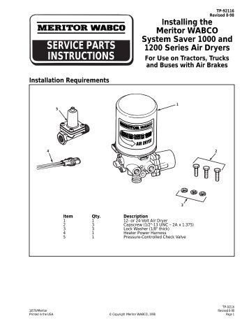 System Saver Twin Air Dryer Meritor Wabco