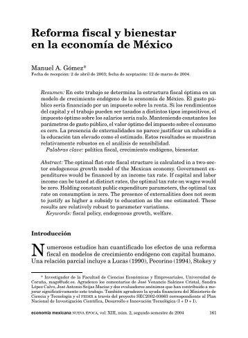 Reforma fiscal y bienestar en la economía de México