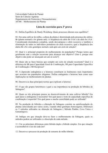 exercícios para 2ª prova - Universidade Federal do Paraná