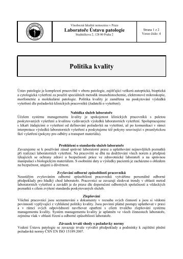 Prohlášení o politice kvality - Všeobecná fakultní nemocnice v Praze