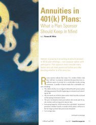 Annuities in 401(k) Plans: - International Foundation of Employee ...