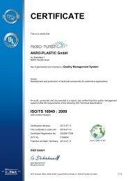 TS 16949:2009 - AKRO-PLASTIC GmbH