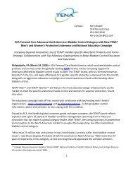 SCA Personal Care Advances North American Bladder Control ...