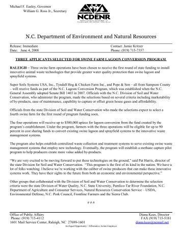 Three Applicants Selected for Swine Farm Lagoon Conversion