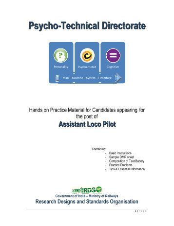 Railway NTPC Psychometric Aptitude Test Guidelines Pdf Download [Complete EBooks]