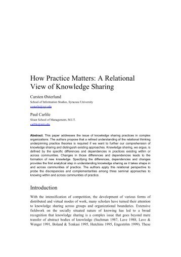 How Practice Matters: A relational view of knowledge sharing