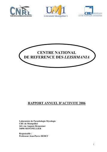 centre national de reference des leishmania - Laboratoire de ...