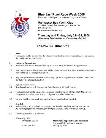 Sailing Instructions (PDF) - Manhasset Bay Yacht Club