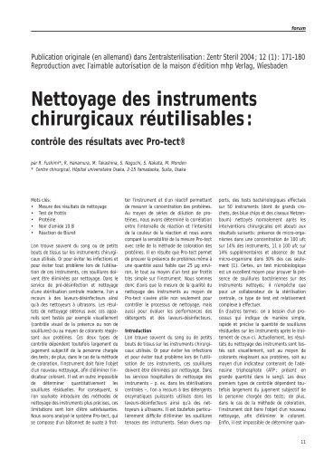 Nettoyage des instruments chirurgicaux réutilisables: