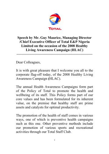 Speech by Mr. Guy Maurice, Managing Director ... - TOTAL Nigeria