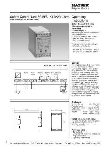 Safety Control Unit SG-EFS 1X4 ZK2/1 L20ms Operating Instructions
