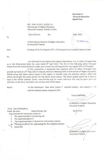 Pending ACRs for Regular DPC of Principals from Lectures School ...