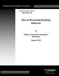 School of Economic Sciences Bias in Measuring Smoking Behavior