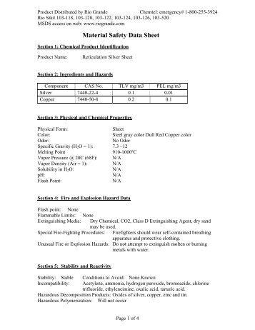 Reticulation Silver Sheet MSDS   Rio Grande. MSDS Sheets for BD Ultradex EZ Scrub Brush 408  PCMX