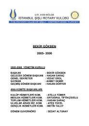BEKİR GÖKBEN 2005- 2006 - Şişli Rotary Kulübü