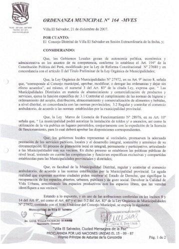 """ORDENANZA MUNICIPAL N"""" 164 -MVÉS - Municipalidad de Villa El ..."""