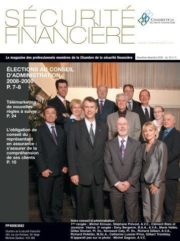 novembre-décembre 2008 - Vol. 33 - No 5 - Chambre de la sécurité ...