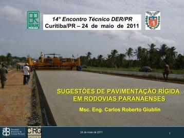 Sugestões de pavimentação rígida no PR - DER