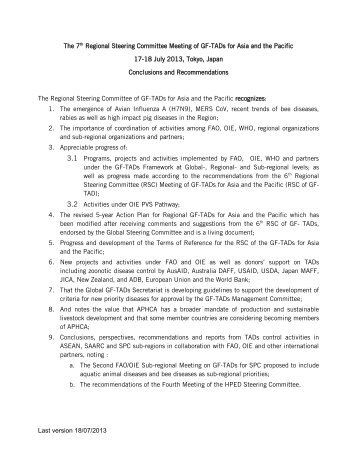 Last version 18/07/2013 The 7th Regional ... - OIE Asia-Pacific