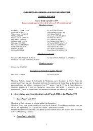 Séance plénière du 22 septembre 2010 - Faculté de Médecine de ...