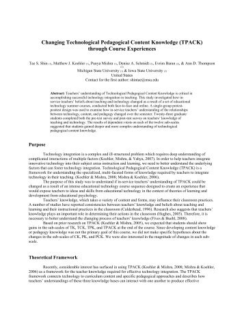 Changing Technological Pedagogical Content Knowledge (TPACK ...