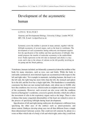 Development of the asymmetric human - Academia Europaea
