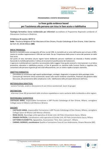 Le linee guida evidence based per l'assistenza ... - Ipasvi Milano Lodi
