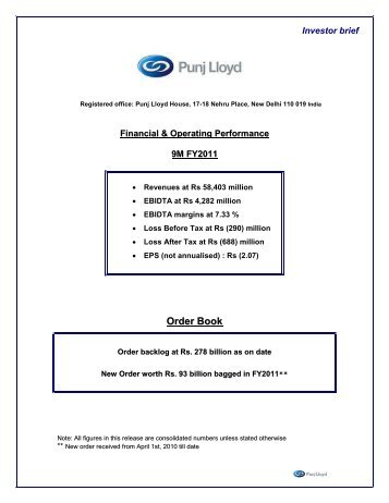 Financial and Operating Performance 9M FY2011 - Punj Lloyd Group
